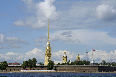 Peter and Paul Fortress with Peter and Paul Cathedral, Saint Petersburg, Russia, Europe
