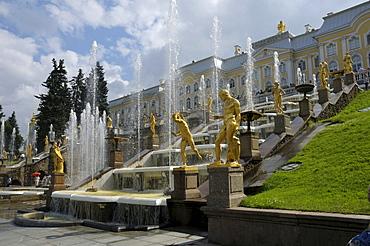 Grand Cascade with Palace, Peterhof, Petrodvorez, Saint Petersburg, Russia, Europe
