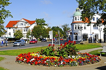 Square in the center of the Baltic resort Binz, Ruegen Island, Mecklenburg-Western Pomerania, Germany, Europe