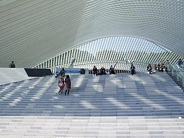 Stairway, Gare de Liege-Guillemins, architect Santiago Calatrava, Liege, Belgium, Europe