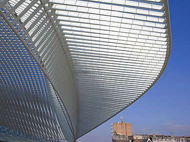 Architectural roof detail of the station in Liege-Guillemin, Belgium, Europe