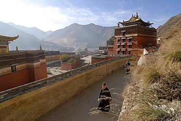 Tibetan women in traditional costume at the morning circling, Kora, of the Labrang monastery, Xiahe, Gansu, China, Asia