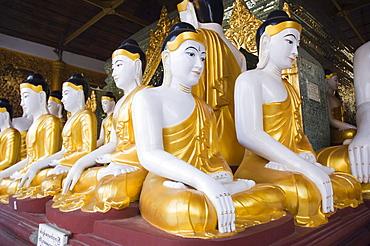Buddha figures, Shwedagon pagoda, temple, Rangoon, Yangon, Burma, Myanmar, Asia