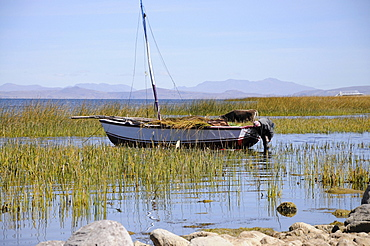 Sailboat, Lake Titicaca, Llachon community, Capachica peninsula, Peru, South America, Latin America