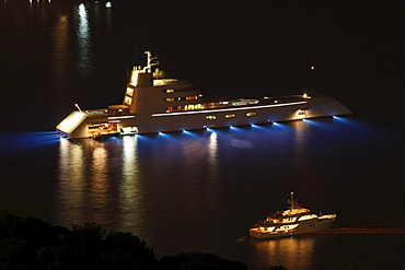 """Motor yacht A, also called """"Sigma"""" or """"SF 99"""" during the planning and construction period, length 119 m, built in 2008, shipyard and architect Blohm & Voss GmbH, architect Francis Design, design Philippe Starck, owner Andrey Melnichenko, at night, Monaco,"""