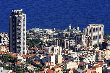 Monte Carlo district with Casino, built by Charles Garnier, and high-rise apartment buildings, Principality of Monaco, Cote d'Azur, Europe