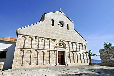 Arched west front facade of Church, Cathedral, of St Mary the Great, Crkva svete Marije Velike, in historic town of Rab, Croatia, Europe