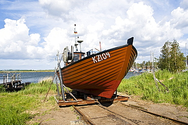 Fishing boat on a slipway, Gager, Mecklenburg-Western Pomerania, Germany, Europe
