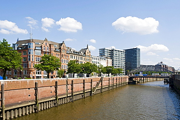 Commercial buildings along a canal in Hamburg, Germany, Europe