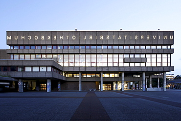 University Library of the Ruhr University Bochum, with mirrored lettering, Bochum, Ruhr, North Rhine-Westphalia, Germany, Europe
