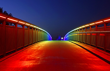 Bridge with rainbow-coloured lighting over the federal road 1, Highway 40, Dortmund, Ruhr area, North Rhine-Westphalia, Germany, Europe