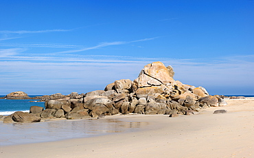 Granite rocks near Kerbrat, Cleder, Finistere, Brittany, France, Europe