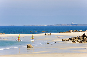 Recreational activity on the beach near Kerbrat, Cleder, Finistere, Brittany, France, Europe