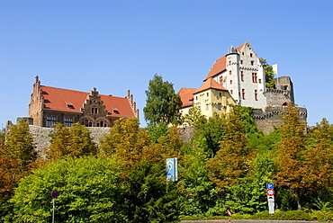 Outer castle, defence wall and the great hall, Old Castle, Alzenau in Lower Franconia, Spessart, Bavaria, Germany, Europe