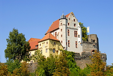 Defence wall and the great hall, Old Castle, Alzenau in Lower Franconia, Spessart, Bavaria, Germany, Europe