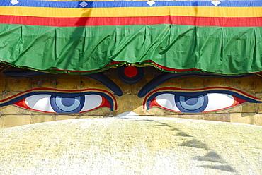 UNESCO World Heritage Site, Tibetan Buddhism, architecture, Bodhnath Stupa, Boudhanath, Boudha, two eyes looking down, pair of eyes, Kathmandu, Nepal, Himalaya, Asia