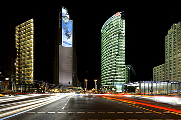 High-rise buildings, the Sony Center at night with light trails, Berlin, Germany, Europe