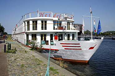 "Anchorage of the ship ""MS Heidelberg"" in Middelburg, The Netherlands, Europe"