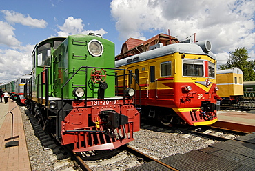 Diesel locomotive TE1-20 and electric train ER-38, exhibits of the Moscow Railway Museum, Moscow, Russia