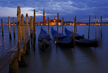 Gondolas at dawn, St. Mark's Square, Venice, Italy, Europe