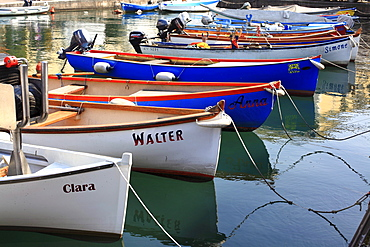 Boats with German names, port of Lazise on Lake Garda, Italy, Europe