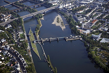 Aerial view, Mosel river barrage and Mosel lock, Koblenz, Rhineland-Palatinate, Germany, Europe