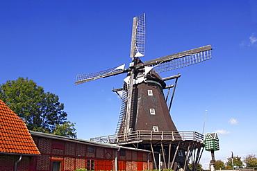 Old windmill, Windmill Museum in Lemkenhafen, Fehmarn Island, Baltic Sea island, Ostholstein district, Schleswig-Holstein, Germany