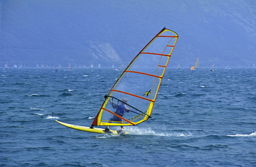 Windsurfer at Torole, windsurfing, surfing, strong winds, Lake Garda, Italy, Europe