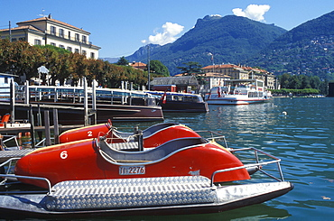 Pedal boats on the bank in Lugano, Lake Lugano, Ticino, Switzerland, Europe