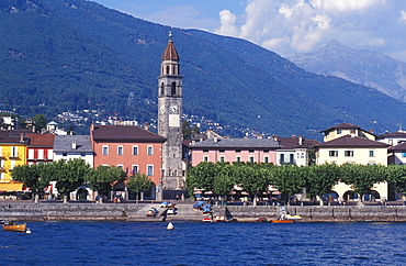 Panoramic view of the waterfront of Ascona, Lake Maggiore, Ticino, Switzerland, Europe
