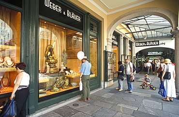 Shops in the Via Nassa, shopping arcade with people shopping, street scene, Lugano, Ticino, Switzerland, Europe