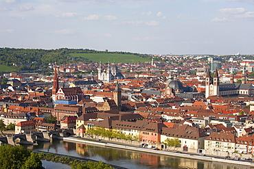 View from Marienburg Fortress over Wuerzburg, Main River, skyline, panorama, Wuerzburg, Franconia, Bavaria, Germany, Europe