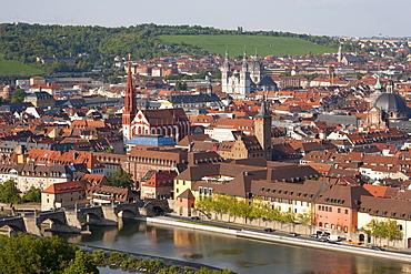 View from Marienburg Fortress over Wuerzburg, Main River, Old Main Bridge, panorama, Wuerzburg, Franconia, Bavaria, Germany, Europe