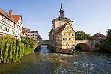 Old Town Hall on the Pegnitz River, Upper Bridge, Bamberg, Franconia, Bavaria, Germany, Europe