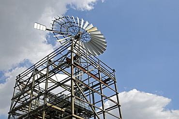 Wind wheel, Landschaftspark Duisburg-Nord landscape park, a former Thyssen blast furnace plant in Meiderich, Duisburg, North Rhine-Westphalia, Germany, Europe