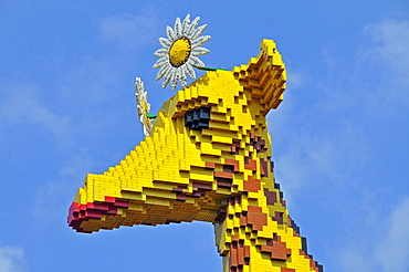 Head of a giraffe made of Lego bricks, Legoland Discovery Center Duisburg, Inner Harbour, Duisburg, North Rhine-Westphalia, Germany, Europe