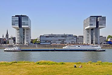 Kranhaus Sued and Kranhaus 1 buildings at the Rheinauhafen harbour, Cologne, North Rhine-Westphalia, Germany, Europe