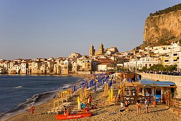 Cefalu beach, Cefalu, Province of Palermo, Sicily, Italy, Europe