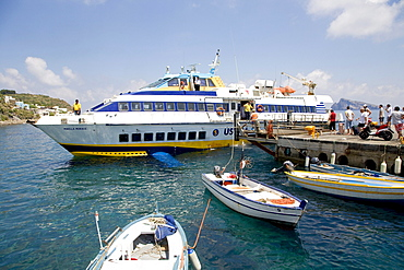 Ferry, Aeolian Islands - Sicily, waterfront of Panarea island, Aeolian Islands, Sicily, Italy, Europe