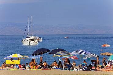 Beach of Giardini Naxos, near Taormina, province of Messina, Sicily, Italy, Europe