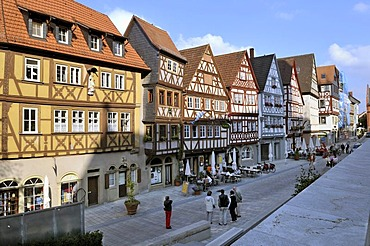 Main street with a row of half-timbered houses, Ochsenfurt, Franconia, Bavaria, Germany