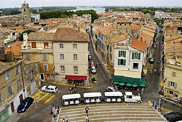 View from the ancient amphitheatre over the city of Arles, France, Europe