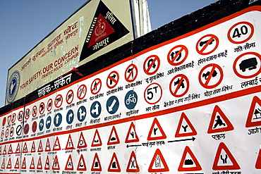 A table with hand-drawn Indian traffic signs on a street in the city of Jodhpur, Rajasthan, India, Asia
