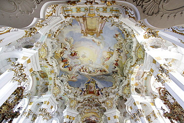 Ceiling fresco in the dome of the Wieskirche church, Wies, Steingaden, Bavaria, Germany, Europe