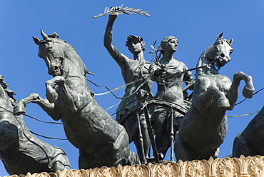 Quadriga on top of the Teatro Politeama Garibaldi, Palermo, Sicily, Italy, Europe