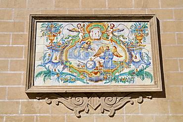 Saint, illustration, wall picture, Spanish tiles, azulejos, Basilica Virgen de los Desamparados Basilica, back side, church, Valencia, Spain, Europe