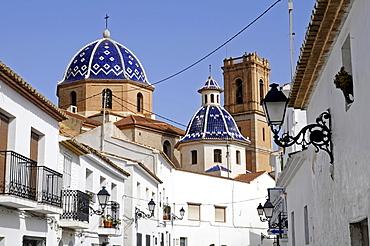 Historic centre, roofs, cupolas, blue, Virgen del Consuelo, Iglesia de Nuestra Senora del Consuelo, church, Altea, Costa Blanca, Alicante, Spain, Europe