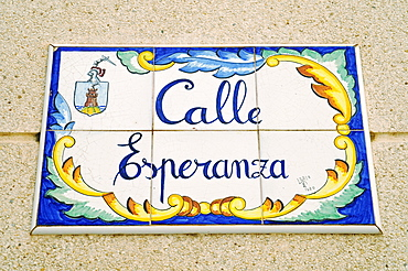 Street sign, Spanish tiles, azulejos, Calle Esperanza, Street of Hope, Costa Calida, Murcia, Spain, Europe