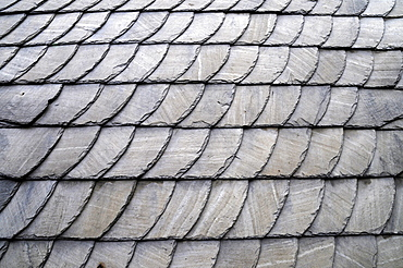 Old roof slates, slate, slate cladding, facade, wall, structure, close-up view, old town, Hattingen, NRW, North Rhine-Westphalia, Germany, Europe