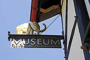 Elephant, sign, the museum of Pre-and Early History, Luisenhuette, cultural monument, Naturpark nature reserve Homert, Wocklum, Balve, Sauerland, North Rhine-Westphalia, Germany, Europe